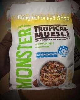 Super murah superfood Monster Tropical Muesli with Mango & Macadamia 700gr