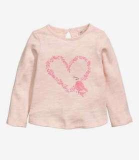 Original H&M Pink Long Sleeves Girl Top