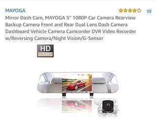 "Mirror Dash Cam, MAYOGA 5"" 1080P Car Camera Rearview Backup Camera Front and Rear Dual Lens Dash Camera Dashboard Vehicle Camera Camcorder DVR Video Recorder w/Reversing Camera/Night Vision/G-Sensor"
