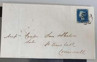 1840 2d blue on cover (very rare)