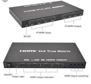 HDMI 4x4 True Matrix HDMI Switch Switcher 4 in 4 Out V1.4 4Kx2K 3D EDID with Remote and power adapter for DVD HDTV