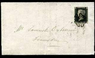 1840 Penny Black on Cover (4 margins)