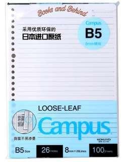 KOKUYO JAPAN loose leaf B5 paper
