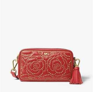 Brand new with receipt! Michael Kors rose studded camera bag in bright red