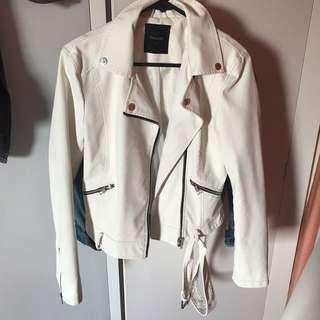 White leather jacket size 6