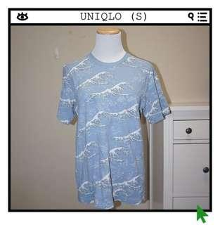*Perfect Condition* UNIQLO Hokusai Blue Collection T-Shirt Unisex Size S