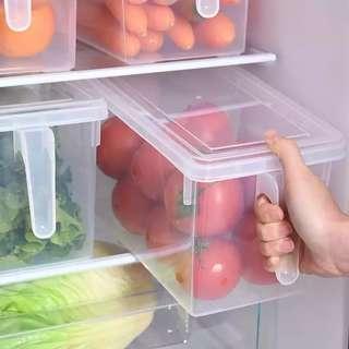 Refrigerator Transparent Storage Box Kitchen PP Storage Box Fruit Vegetable Good Seal Box With Lid Handle Refrigerator Food Container Organizer