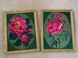 Framed Handmade Cross Stitching Roses Camillas