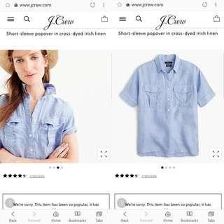 J Crew popover shirt in Iris Linen