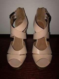 ALDO nude wedge heels
