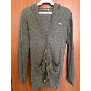 Gray Cardigan with Hoodie Jacket