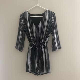 Ally Black and White striped playsuit