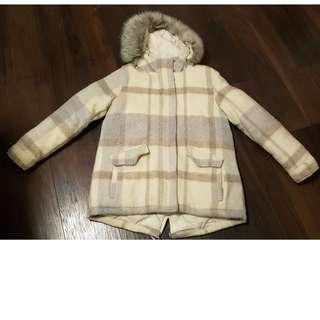 GAP DOWN PLAID COAT - GENTLY USED