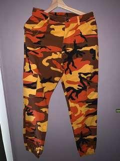 Orange Camo Cuffed Pants