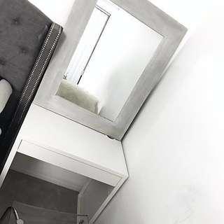 Brand new light grey barn inspired rustic mirror