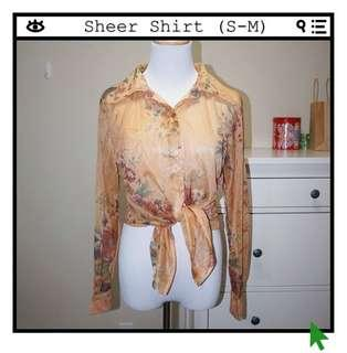 *NWT✨* Sheer Floral Blouse Shirt (fits like a S-M)