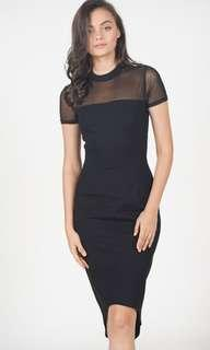 Black Mesh MDS Melita Dress