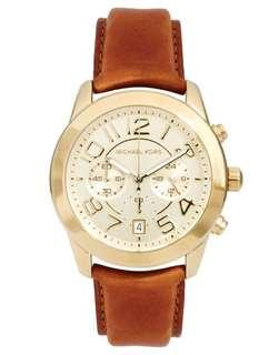 Michael Kors Mercer Gold tan leather watch