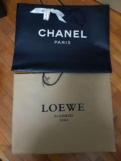 AUTHENTIC CHANEL LOEWE PAPER BAG PACKAGING ONLY BAGS BAG GIFT