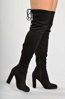 High over the knee suede boots chunky heel