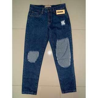 REVERSE RIPPED LIGHT BLUE WASH JEANS NEW WITH TAGS 6,10,12 NEW WITH TAGS