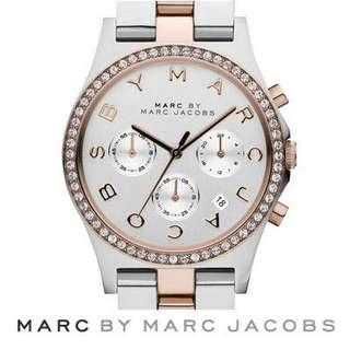 Marc Jacobs two tone rose gold henry chronograph glitz watch