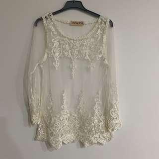 REVERSE LONG SLEEVE LACE TOP 8-10