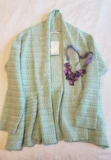 Téchichi pastel green cardigan (with free necklace)