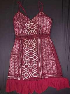 M Boutique Burgundy Lace Mini Dress