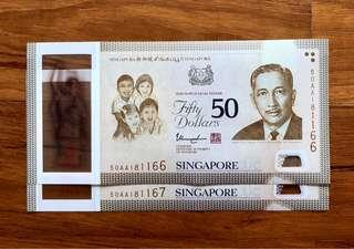 NOT TO BE MISSED!!! SG50 COMMEMORATIVE $50 NOTE PREFIX AA 2 RUNS!!!