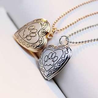 Paw & heart-shaped locket necklace
