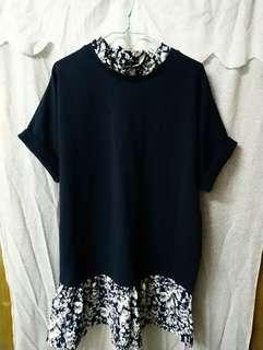 e.PLUS 小企領 寶藍色拼雪紡碎花 短袖 鬆身 連身裙