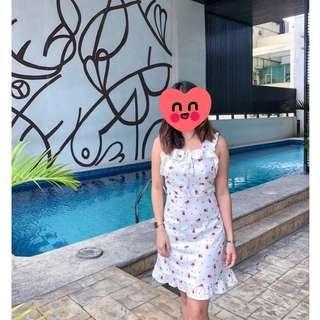 White ruffle floral dress