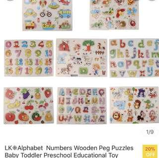 Alphabets numbers wooden puzzles for baby toddler kid children great gift for birthday