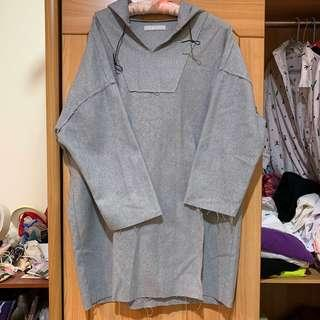 🚚 Air Space 灰色連帽鬚邊洋裝 長版上衣