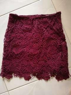 🚚 BN H&M maroon crochet skirt