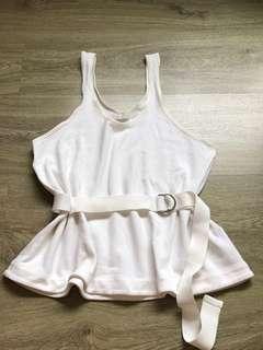 Zara White Tank Top with Belt
