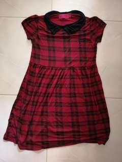 🚚 BN Boohoo red checked dress