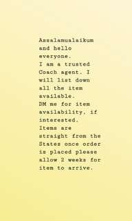 Coach Agent for New, Authentic Coach Flown Straight from the States!