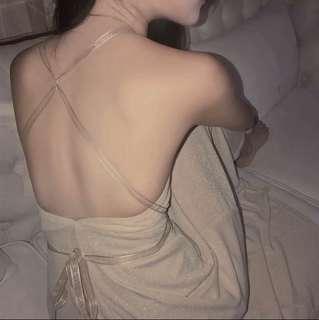 🚚 穿上馬上變女神!超美襯膚色性感大露背絲帶綁帶長洋裝