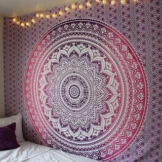 🚚 #9: Pink Ombré QUEEN SIZE Mandala Tapestry