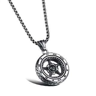 🚚 [MEN ACCESSORIES]🔱PUNK WHEEL PENDANT STAINLESS STEEL LINK CHAIN MEN NECKLACE FASHION JEWELRY🔱