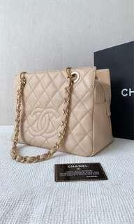 100% Authentic Chanel Petit Timeless Tote (PTT) Chain Bag, Beige Caviar