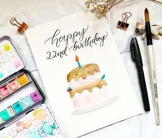 🚚 Happy birthday cake watercolor calligraphy card