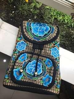 Blue embroidered mini backpack