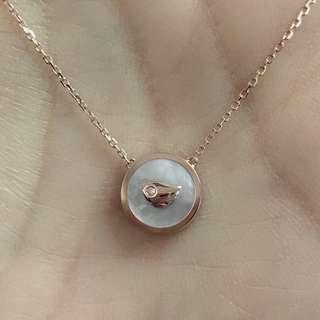 18K玫瑰金白貝母鑽石小鳥頸鏈