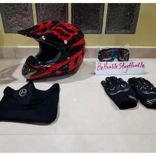 Glossy Red Fox Off Road Full Face Helmet Size L & XL