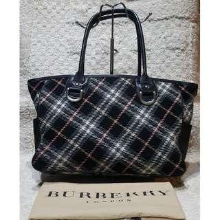 8c38b15b3061 REPRICED Burberry Blue Label Wool Plaid Tote Bag