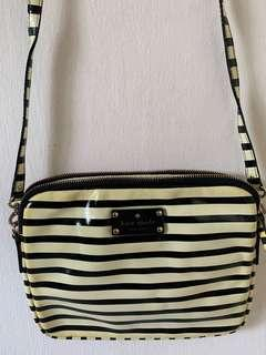 Authentic Kate Spade Black and White Striped Sling Bag