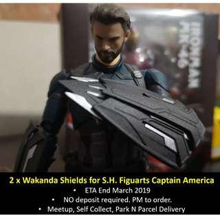 🚚 [Urgent Preorder] Set of 2 Custom Wakanda Shields for SH Figuarts Captain America (figure sold separately)